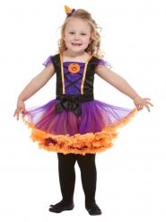 Kleine Kürbis-Hexe Halloween-Kostüm für Mädchen orange-lila-schwarz