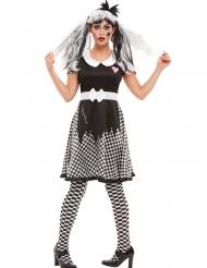 Gruselige Horror-Puppe Damenkostüm für Halloween schwarz-weiss