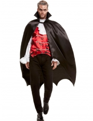 Edles Vampir-Kostüm für Herren Halloween-Verkleidung schwarz-rot-weiss