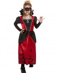 Exklusives Vampir-Kostüm für Mädchen Halloween schwarz-rot