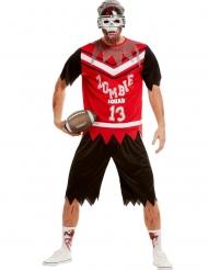 American Football Zombiekostüm für Herren Halloween schwarz-weiss-rot