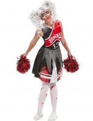 Blutiges Cheerleader-Damenkostüm Halloween schwarz-rot-weiss