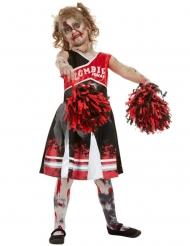 Zombie Cheerleader-Kostüm für Mädchen Halloween rot-schwarz