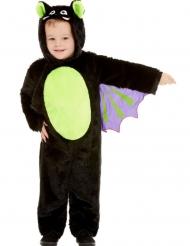 Freche Fledermaus Halloween-Kostüm für Kinder schwarz-grün-lila