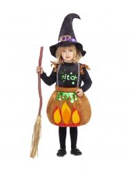 Süße Hexe im Kessel Mädchenkostüm für Halloween schwarz-orange
