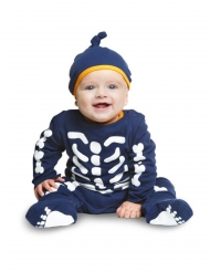Süßes Skelett-Babykostüm für Halloween blau-weiss