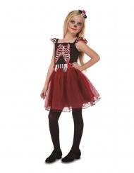 Hübsches Tag der Toten-Kostüm für Mädchen Halloween schwarz-rot
