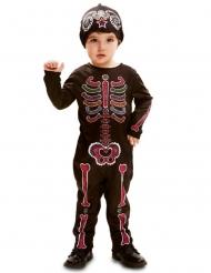 Skelett-Kostüm für Kleinkinder Tag der Toten-Verkleidung schwarz-bunt