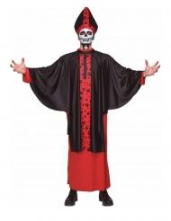 Skelett-Kardinal Halloween-Kostüm für Herren schwarz-rot