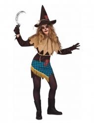 Vogelscheuchen-Hexe Halloween-Damenkostüm bunt