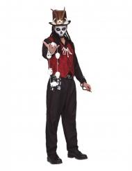 Hexer Voodoo-Kostüm für Herren Halloween-Verkleidung rot-schwarz