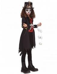 Voodoo-Mädchenkostüm für Halloween schwarz-rot