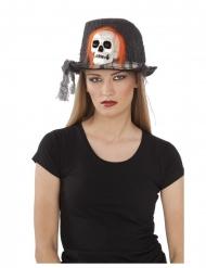 Dunkler Skelett-Hut Kopfbedeckung für Frauen Halloween schwarz-orange-weiss