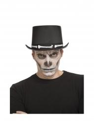 Skelett-Zylinder für Herren Halloween-Zubehör schwarz-weiss