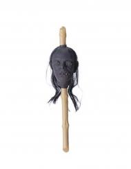 Abgetrennter Kopf am Spieß Voodoo-Zepter für Halloween beige-grau 50x13x13cm