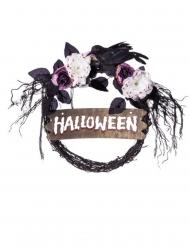 Halloween-Türkranz mit Rosen und Rabe bunt 44 x 36 x 54 cm