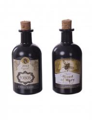 2 Giftflaschen Halloween-Deko Vintage schwarz