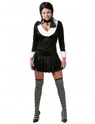 Horror-Schulmädchen Damenkostüm für Halloween schwarz-weiss