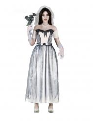 Untote Geister-Braut Damenkostüm für Halloween weiss-grau