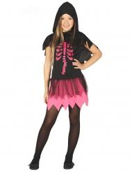 Skelett-Dame Mädchenkostüm für Halloween schwarz-pink