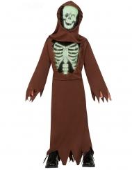 Schauriges Skelett-Mönchkostüm für Kinder Halloween braun-schwarz-weiss