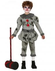 Blutiges Horrorclown-Kostüm für Jungen Halloween grau
