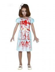 Geister-Zwilling Mädchenkostüm für Halloween blau-rot