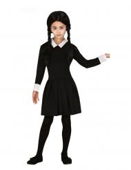 Edles Gothic-Kostüm für Kinder Mädchenkostüm für Halloween schwarz-weiss