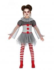 Grusel-Clown-Kostüm für Mädchen grau-rot