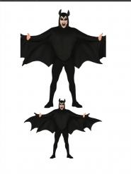 Finsteres Fledermaus-Kostüm Halloween-Verkleidung schwarz