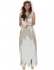 Geisterbraut-Kostüm für Damen Halloween-Verkleidung weiss-grau