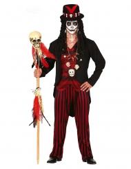 Voodoo-Priester-Herrenkostüm für Karneval und Halloween schwarz-rot