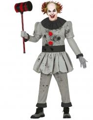 Psychoclown-Kostüm für Herren Halloween grau-schwarz
