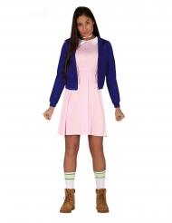 Junge Telepatin Halloween-Kostüm für Damen 80er Jahre rosa-blau
