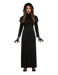 Düstere Gothic-Braut Damenkostüm für Halloween schwarz