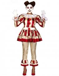 Schauriges Clown-Kostüm für Damen Halloween-Verkleidung beige-rot