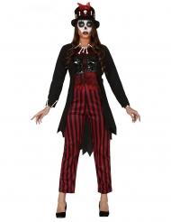 Voodoo-Priesterin Hexerin Damenkostüm für Halloween rot-schwarz-weiss