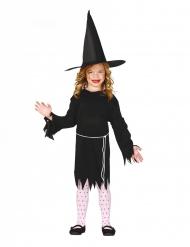Klassisches Hexen-Kostüm für Mädchen Halloween schwarz