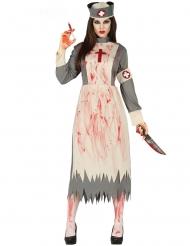 Horror-Krankenschwester Halloween-Kostüm für Damen weiss-grau-rot