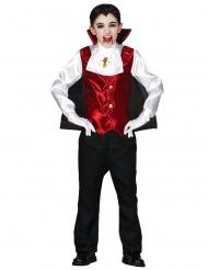 Vampir-Kostüm für Jungen Halloween-Verkleidung schwarz-rot-weiss