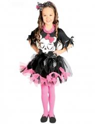 Süßes Totenkopf-Kleid für Mädchen schwarz-rosa
