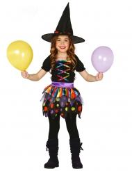 Freche Hexe Halloween-Kostüm für Mädchen schwarz-bunt