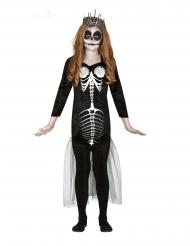 Skelett-Meerjungfrau Mädchenkostüm für Halloween schwarz-weiss