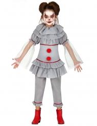 Zombie-Clownkostüm für Mädchen grau-rot