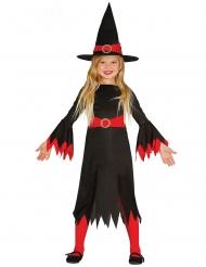 Hexen-Kostüm für Mädchen Halloween-Verkleidung schwarz-rot