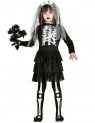 Skelett-Braut Halloween-Kostüm für Mädchen schwarz-weiss