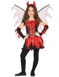 Teuflisches Mädchenkostüm für Halloween rot-schwarz