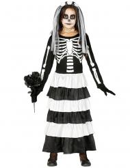 Skelett-Kostüm Zombie-Braut Halloween für Mädchen 2-teilig