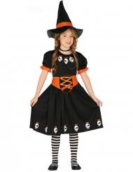 Hexen-Kostüm mit Totenschädel Halloween schwarz-orange