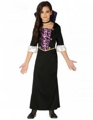 Vampir-Gräfin Halloween-Kostüm für Kinder schwarz-lila-weiss